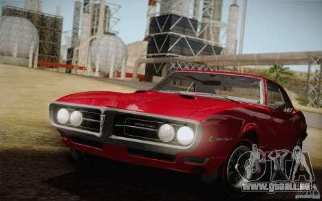 Pontiac Firebird 400 (2337) 1968 pour GTA San Andreas vue de dessus