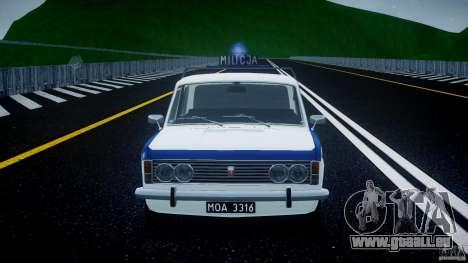 Fiat 125p Polski Milicja pour GTA 4 vue de dessus