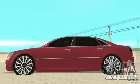 Audi A8L 4.2 FSI pour GTA San Andreas sur la vue arrière gauche