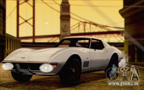 Chevrolet Corvette C3 Stingray T-Top 1969 pour GTA San Andreas sur la vue arrière gauche