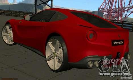 Ferrari F12 Berlinetta BETA pour GTA San Andreas sur la vue arrière gauche