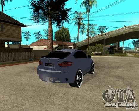 BMW X6 M HAMANN pour GTA San Andreas sur la vue arrière gauche