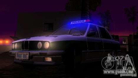 BMW E30 Sedan Police pour GTA San Andreas vue intérieure