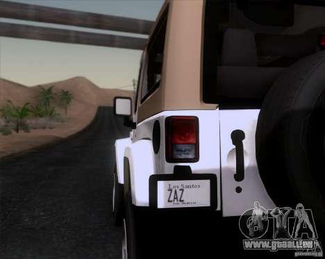 Jeep Wrangler Rubicon für GTA San Andreas zurück linke Ansicht