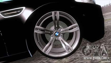 BMW M5 2012 pour GTA San Andreas sur la vue arrière gauche