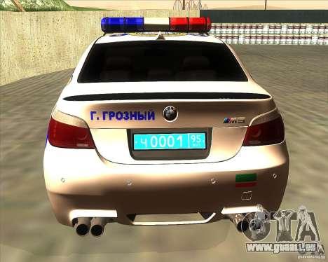 BMW M5 E60 Police pour GTA San Andreas sur la vue arrière gauche