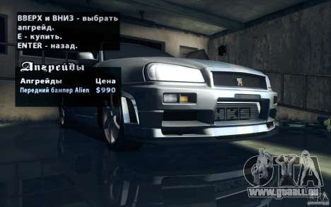 Nissan Skyline GTR R34 VSpecII für GTA San Andreas Unteransicht