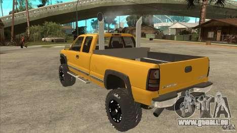 Chevrolet Silverado 2500 Lifted pour GTA San Andreas sur la vue arrière gauche