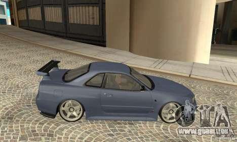 Nissan Skyline R-34 GTR pour GTA San Andreas sur la vue arrière gauche