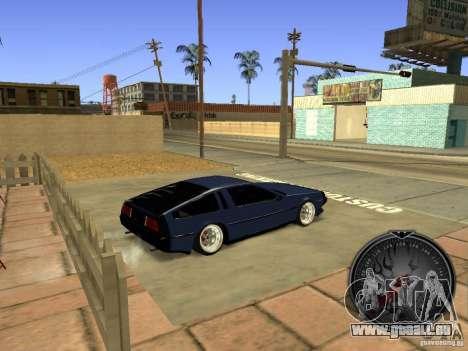 Delorean DMC-12 Drift für GTA San Andreas zurück linke Ansicht