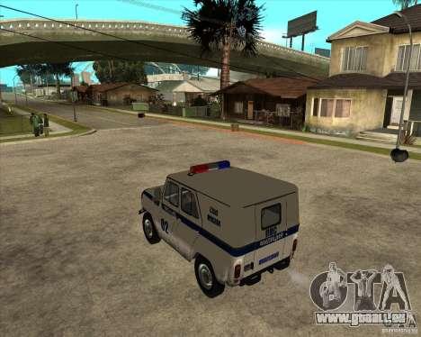 UAZ 31514 patrouiller pour GTA San Andreas laissé vue