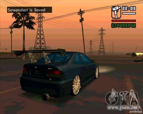 Honda Civic Tuned (corrigé) pour GTA San Andreas sur la vue arrière gauche