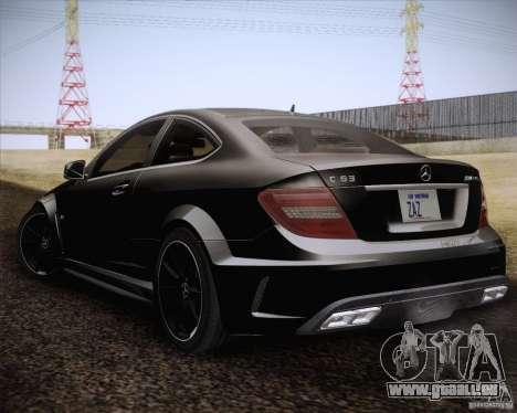 Mercedes-Benz C63 AMG Black Series pour GTA San Andreas laissé vue