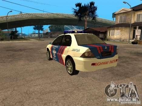 Mitsubishi Lancer Police Indonesia pour GTA San Andreas laissé vue