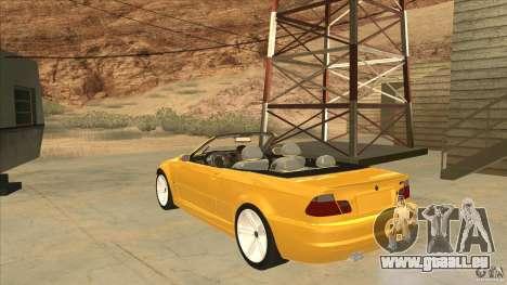 BMW E46 M3 Cabrio pour GTA San Andreas sur la vue arrière gauche