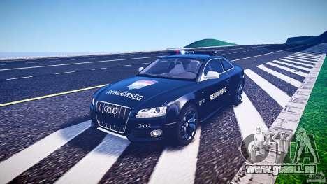 Audi S5 Hungarian Police Car black body pour GTA 4 est une vue de l'intérieur