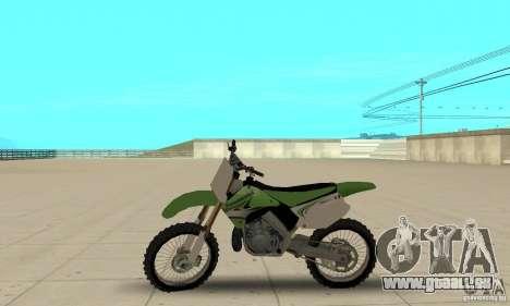 Kawasaki KX250 für GTA San Andreas zurück linke Ansicht
