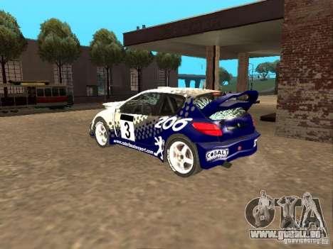 Peugeot 206 WRC de Richard Burns Rally pour GTA San Andreas vue de dessus