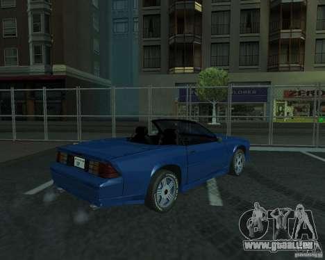 Chevrolet Camaro 1992 pour GTA San Andreas vue arrière