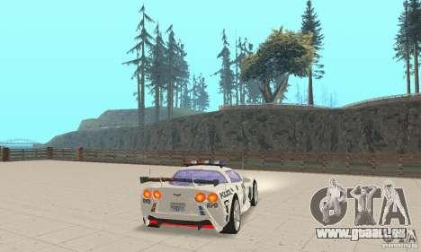Chevrolet Corvette C6 Polizei-Sergeant Cross NFS für GTA San Andreas zurück linke Ansicht