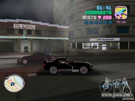Dodge Viper Hennessy 800 pour GTA Vice City sur la vue arrière gauche