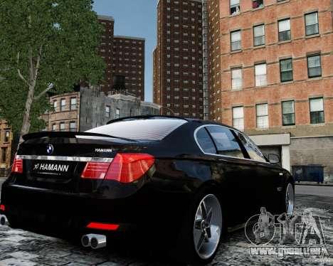 BMW 750Li (F02) Hamann 2010 v2.0 pour GTA 4 Vue arrière