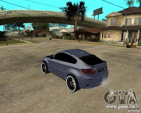 BMW X6 M HAMANN pour GTA San Andreas laissé vue