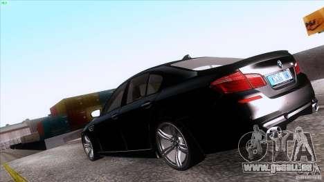BMW M5 2012 pour GTA San Andreas laissé vue
