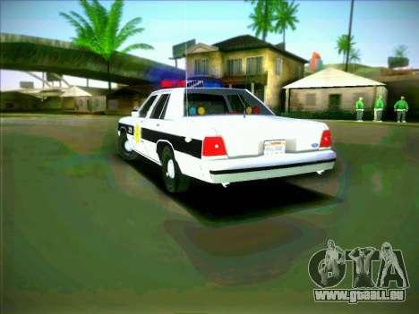Ford Crown Victoria LTD 1991 HILL-VALLEY Police pour GTA San Andreas sur la vue arrière gauche