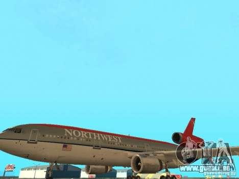 McDonell Douglas DC 10 Nortwest Airlines pour GTA San Andreas vue de côté