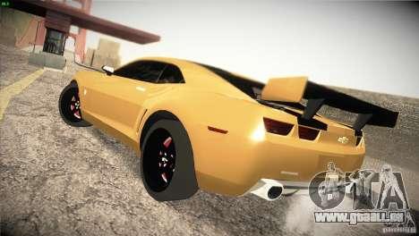 Chevrolet Camaro SS Transformers 3 für GTA San Andreas zurück linke Ansicht