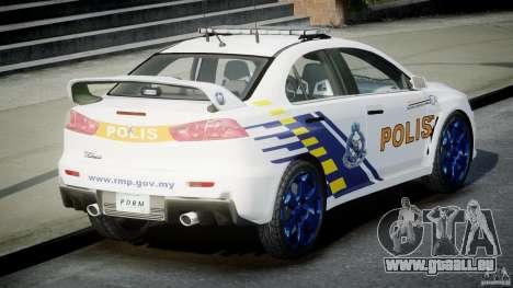 Mitsubishi Evolution X Police Car [ELS] für GTA 4 hinten links Ansicht