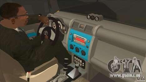 Toyota FJ Cruiser pour GTA San Andreas vue intérieure