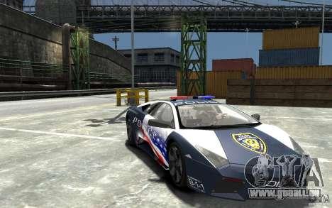 Lamborghini Reventon Police Stinger Version pour GTA 4 Vue arrière