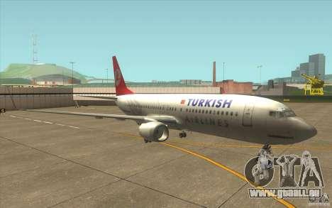 Boeing 737-800 THY pour GTA San Andreas laissé vue