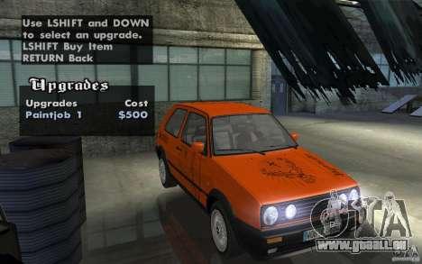 VW Golf Mk2 GTI für GTA San Andreas Innenansicht