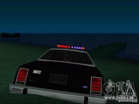 Ford Crown Victoria LTD 1992 SFPD pour GTA San Andreas sur la vue arrière gauche