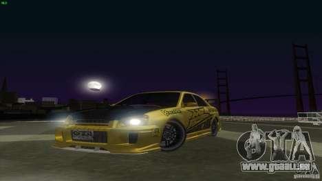 Subaru Impreza WRX No Fear pour GTA San Andreas sur la vue arrière gauche