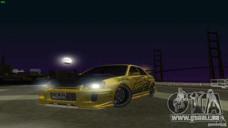 Subaru Impreza WRX No Fear für GTA San Andreas zurück linke Ansicht