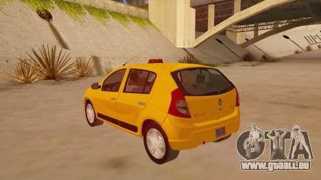 Renault Sandero Taxi pour GTA San Andreas sur la vue arrière gauche