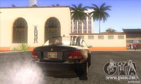 BMW 135i (E82) pour GTA San Andreas sur la vue arrière gauche