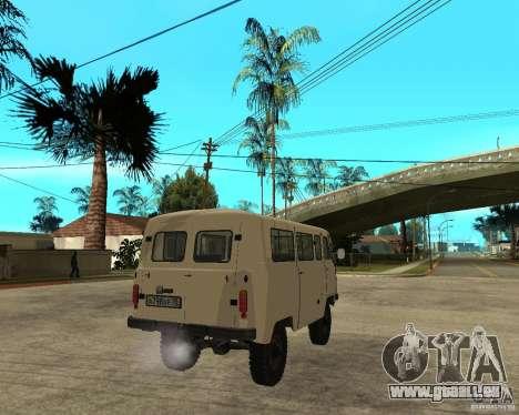 UAZ 2206 pour GTA San Andreas sur la vue arrière gauche