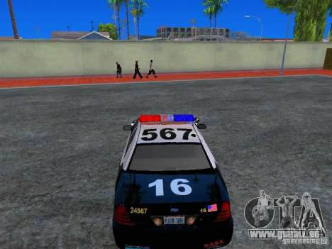 Ford Crown Victoria San Andreas State Patrol pour GTA San Andreas vue arrière