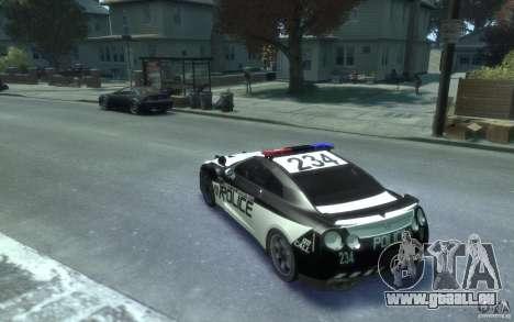 Nissan GT-R R35 Police pour GTA 4 Vue arrière de la gauche