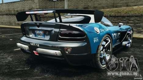 Dodge Viper SRT-10 ACR ELITE POLICE pour GTA 4 Vue arrière de la gauche