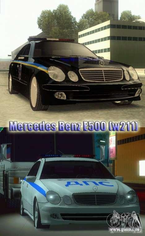 MERCEDES BENZ E500 w211 SE Polizei Russland für GTA San Andreas zurück linke Ansicht