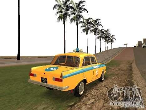 IZH 412 GAI pour GTA San Andreas sur la vue arrière gauche