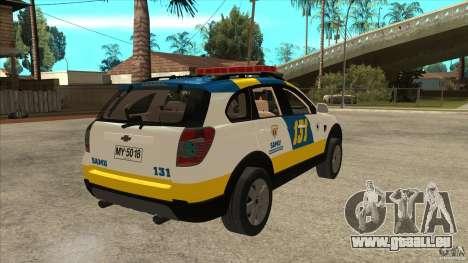 Chevrolet Captiva Police pour GTA San Andreas vue de droite