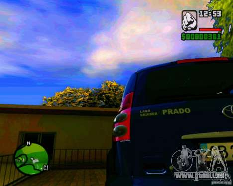 Toyota Land Cruiser Prado 120 pour GTA San Andreas sur la vue arrière gauche
