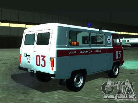 UAZ 3962 ambulance pour GTA San Andreas vue de droite